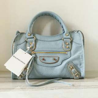 BALENCIAGA SMALL METALIC EDGE LIGHT BLUE GHW