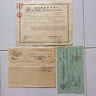 Vintage Old Document - Set of 3 Fire Insurance Renewal Certificate , Invoice and Receipt dated in Year 1956 issued by The Public Insurance Co. Ltd , Singapore