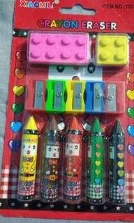 Crayons, Lego designed Erasers and Sharpener