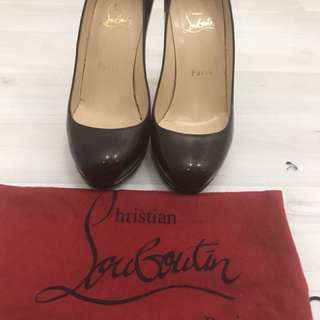 Preloved authentic christian louboutin heels warna purple/maroon