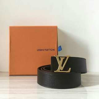 LOUIS VUITTON CALF LEATHER BELT DARK BROWN WITH GOLD BUCKLE