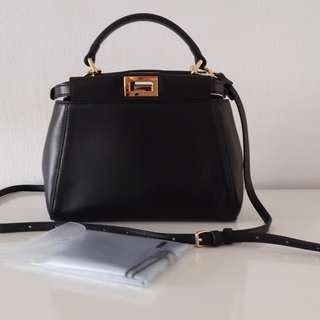 💯%Authentic Fendi Mini Peekaboo in black nappa leather