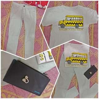 """Paket C 1set tshirt all size-celana panjang (uk m)- dompet dan cicin"""""""