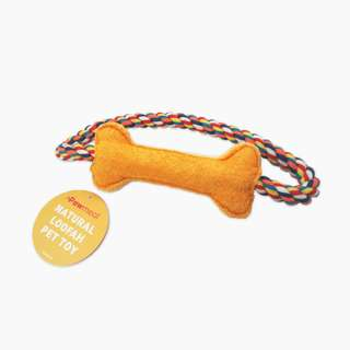 Loofah Bone with Rope Toy by Pawmeal