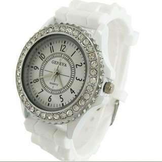 Geneva Diamante White Watch 手錶