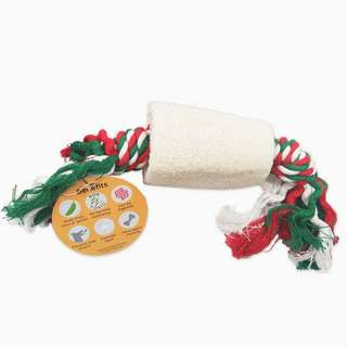 Loofah Tube with Rope Toy Natural White