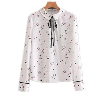 Korean version of the sweet love doll collar lace pullover long-sleeved shirt