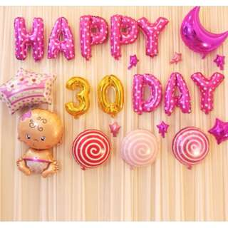 (In stock) Baby Girl Full Month Party Decoration Set