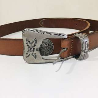 Mango genuine leather raw edge belt w/ coins and etched buckle