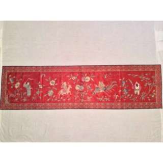 ANTIQUE EARLY 20th c REPUBLIC PERIOD CHINESE EMBROIDERED TAPESTRY TEXTILE BANNER, 148 x 40 cm!