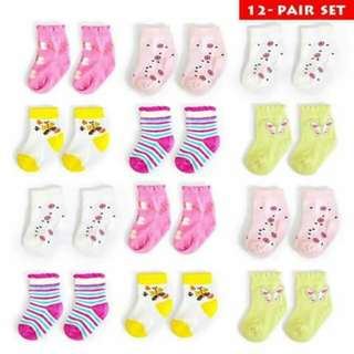 1 Dozen Baby Girl Socks