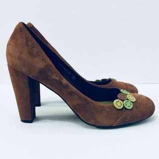 BUFFALO DAVID BITTON Women's Brown Suede Embellished Heels, Size 10