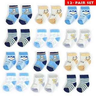 1 Dozen Baby Boy Socks