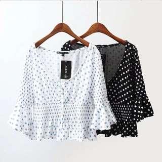 🔥New pastoral storm dot print wrinkle horn sleeve short blouse