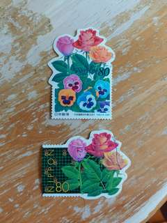日本郵票 花花異形已銷郵票二枚
