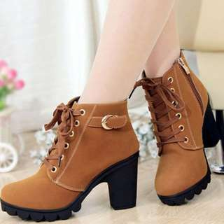 High Heel Lace Up Ankle Boots Suede Women Shoes