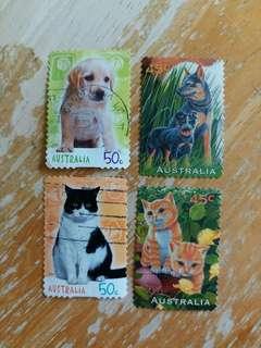 澳洲郵票 貓狗已銷郵票四枚