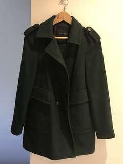 Zara forest green wool coat