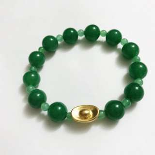Aventurine Bracelet with Gold Ingot Ladies Bracelet 金元宝手链