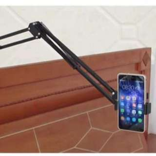 Adjustable handphone mobile tablet stand with clamp