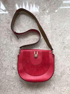 Massimo Dutti red sling bag