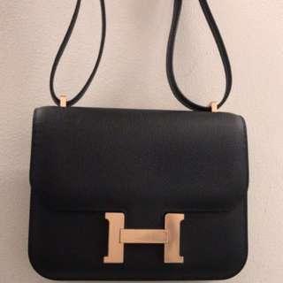 Hermes Constance 18 Epsom Black Rose Gold HW