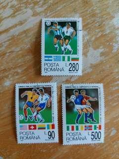 羅馬尼亞郵票1994年美國足球世界杯决賽已銷郵票一套三全