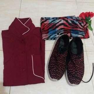 Sepaket kemaja, sepatu, jilbab