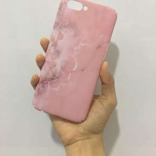 Pink marble rubber texture iphone7 casing for sales!