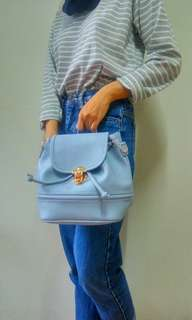 2 in 1 import classic blue backpack and sling bag tas selempang ransel