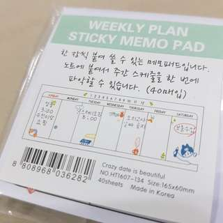 Weekly planner sticky memo pad