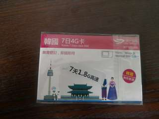 South Korea 7 Days 1.8G Data Card