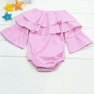 RCZPG030965 - Stripe Layered Infant Romper