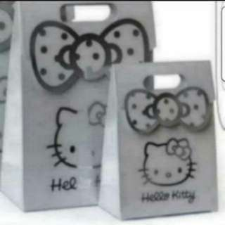 In Stock Hello Kitty Paperbag Carrier Small Size In Sliver For All Purposes.Size S  14 × 19 × 6cm