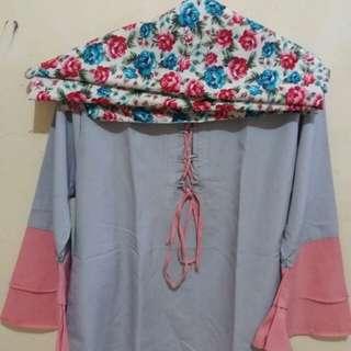 Sepaket blouse n jilbab