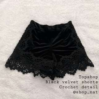 Topshop Black Velvet Crochet Shorts