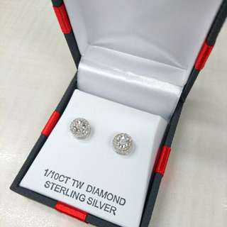 1/10 ct diamond earrings / necklace in sterling silver