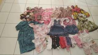 Bundle dress, baju kurung and tights