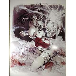 DC Comics Wonder Woman Fight Copic Art Print 11x17