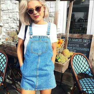 In-stock Denim Overall pinafore Dress