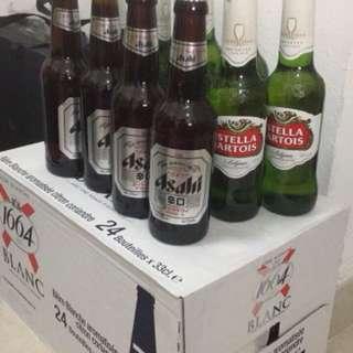 Bottled beer- 1664 blanc, Asahi, Stella