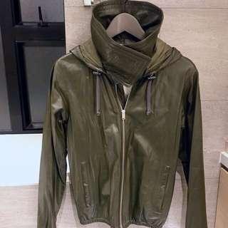 Celine Olive green leather jacket with hood size 34