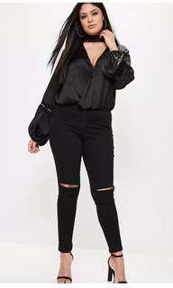 <Plus Size PO> Bell Sleeves Choker Blouse