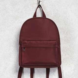 F21 Medium Nylon Backpack in Burgundy Maroon