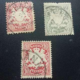 19世紀德國拜仁慕尼黑郵票x3