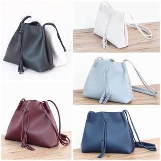 Instock BN Tassel Sling Shoulder Bag Small PU Leather 6 Colors Available! Brand New!