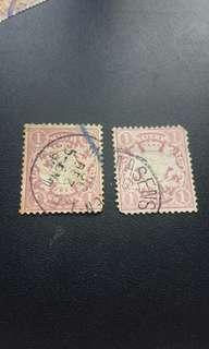 19世紀德國大面額拜仁慕尼黑郵票x2
