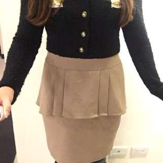 🚚 ~假二件~OL風 空姐氣質顯瘦荷葉窄裙洋裝