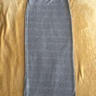 灰色鬆緊棉窄裙