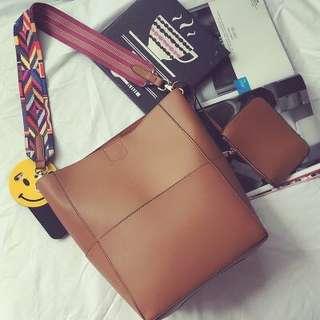 Instock Tribal Strap Shoulder Bag Brown Pu Leather